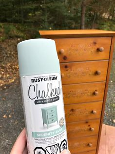 Trying out Rust-Oleum's new chalk paint spray paint in Serenity Blue. See an easy, chalk paint cabinet makeover before and after. I show detailed photos of a spray paint chalk paint finish so you can see if you like it! Chalk Spray Paint, Spray Paint Furniture, Blue Chalk Paint, Furniture Legs, Barbie Furniture, Furniture Design, Garden Furniture, Sanding Furniture, Rustoleum Spray Paint Colors