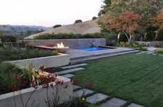 Fire pit and spa - modern - landscape - san francisco - Huettl Landscape Architecture