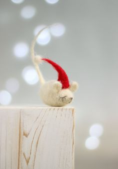 Needle Felt Mouse  Christmas Dreamy Felt Mouse by FeltArtByMariana