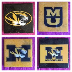 University of Missouri - Mizzou Coasters! These coaster sets are handmade on ceramic tiles and covered with a water-resistant, polymer coating, the bottom is covered with cork to protect furniture. All teams and all sports available. We even make coasters using your digital pictures (for your workplace, family reunions, weddings, personalized gifts, etc.).