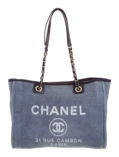 aa82fc7d40be10 Chanel Small Deauville Tote - Handbags - CHA100540 | The RealReal Brown  Canvas, Blue Canvas