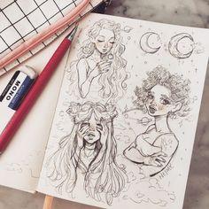 Sharpie Drawings, Pencil Art Drawings, Cool Art Drawings, Art Drawings Sketches, Art Illustrations, Arte Sketchbook, Watercolor Sketchbook, Art Diary, Cartoon Art Styles