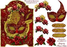 Roses and Feathers Masque Screen Card on Craftsuprint designed by Karen Adair - A pretty screen card front in red and gold, with a stunning vibrant red and gold Venetian Mask decorated with beautiful feathers, on a shield embellished with Roses. Decoupage is included, along with three sentiment tags, one left blank for you to personalise if you wish. If you like this check out my other designs, just click on my name. - Now available for download!