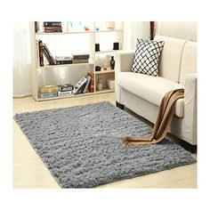 YOH Super Soft Polyester Fiber Area Rugs Silky Smooth Bedroom Mats Fluffy Shaggy Rugs for Living Room Bedroom Kids Room Nursery Home Decor Carpet Popular Colors 4 Feet by 5.3 Feet Black