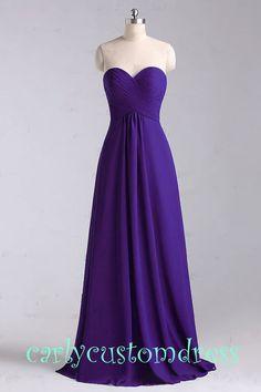 Purple Long Chiffon Bridesmaid Dress Cheap by CarlyCustomDress