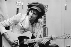 """The Rolling Stone's best-known guitar is probably """"Micawber,"""" an early Fifties butterscotch Fender Telecaster tuned to open G, with the sixth string removed. The guitar is named for a character in Dickens' David Copperfield."""