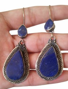 "Lapis Lazuli Earring and Alpaca Silver 2"" inches Afghan Kuchi Earrings 