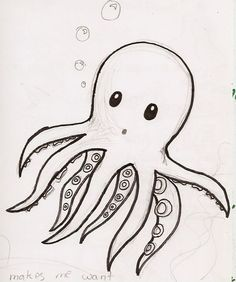 Drawing Doodle Easy Bilderesultat for cute octopus drawing Cute Drawings Tumblr, Doodle Drawings, Doodle Art, Drawing Sketches, Drawing Ideas, Cute Easy Animal Drawings, Cute Drawing Images, Cool Simple Drawings, Simple Doodles Drawings