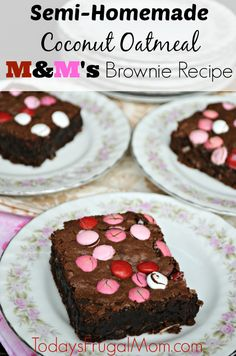Semi-Homemade Coconut Oatmeal M&M's Brownie Recipe :: Today's Frugal Mom