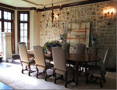 Rustic Dining Room Decorating Ideas With Exciting Glossy Wooden Table Interior Stone Veneer Rustic Stone Wall Classic Chandelier For Dining Room Decoration Combined With Grey Chair Furniture Stone Accent Walls, Stone Walls, Stone Veneer Panels, Stone Wall Design, Interior Door Knobs, Stone Interior, Diy Interior, Interior Walls, Interior Decorating