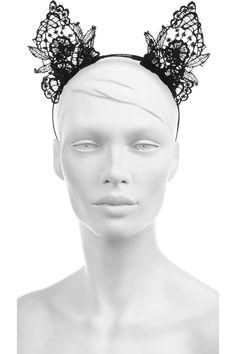 MY CAT EARS FOR HALLOWEEN :)  Mimi Holliday by Damaris|Lace cat ear headband|NET-A-PORTER.COM