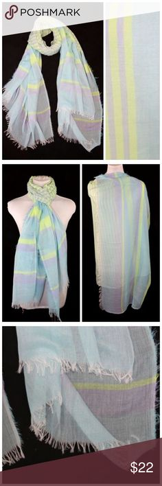 """B62 Yellow Blue Mint Gray Raw Edge Stripe Scarf ‼️ PRICE FIRM UNLESS BUNDLED WITH OTHER ITEMS FROM MY CLOSET ‼️    Stripe Raw Edge Scarf  Retail $72    LOVE IT!!!!  Raw edges highlight this gorgeous scarf.  Perfect for year round wear . Sure to dress up even the most basic outfit. 41"""" wide, 78"""" long. 100% viscose.  Please check my closet for thousands more items including designer clothing, jewelry, shoes, handbags and much more! Accessories Scarves & Wraps"""