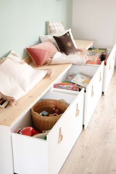 Baby Room Storage, Kids Storage, Playroom Furniture, Home Decor Furniture, Coin Banquette, Ikea Stuva, Small Bedroom Designs, Kids Bedroom, Ideas