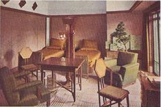 Imperial Hotel Booklet inside page 5 left - Bedroom, fabric color scheme is gold and green