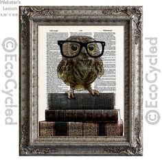 New to EcoCycled on Etsy: Adorable Nerdy Owl with Glasses on Books on Vintage Upcycled Dictionary Art Print Book Art Print Recycled Reading Read Books (10.00 USD)