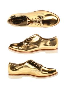KAGADATO selection. The best in the world. Fashion. **************************************Metallic Gold Oxfords / Also available in silver