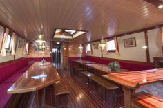 Saloon on board the cozy hotelship 'Actief' in Medemblik the Netherlands.