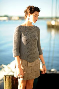 Camilla Pullover by Carrie Bostick Hoge, via Quince and Co.  Love the simplicity of garter accented by lace.  Worked bottom up this seems like it would be engaging enough to be a fun project but not so hard you can't watch TV at the same time
