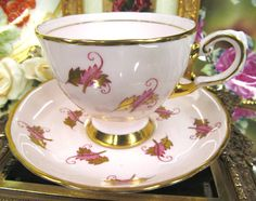 TUSCAN TEA CUP AND SAUCER CHINTZ PINK & GOLD PATTERN TEACUP