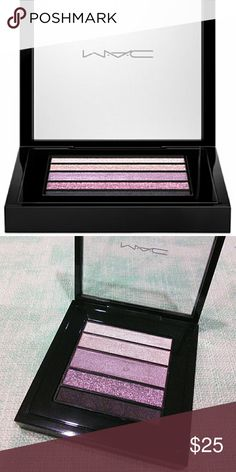 MAC Veluxe Pearlfusion Eyeshadow Pallete Brand new, only middle color swatched once  Color: Pinkluxe  The Veluxe Pearlfusion Shadow Palette features five complementary shades in one convenient palette that glide on and blend beautifully. Unlike most powders that are pressed into traditional metal pans, this revolutionary product combines liquid and powder into a luxurious mixture that's carefully baked for three to 12 hours. It starts out as a powder on your eyes and turns into a creamy…