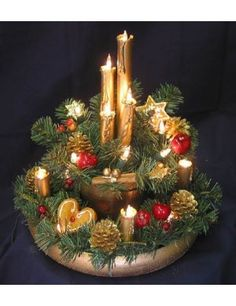christmas candle centerpiece idea love the number of lights