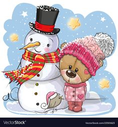 Snowman and Cute Teddy Bear girl in a hat. Snowman and Cute Cartoon Teddy Bear girl in a hat vector illustration Christmas Drawing, Christmas Cats, Cartoon Pics, Cute Cartoon, Bear Cartoon, Animal Nail Designs, Cute Christmas Wallpaper, Teddy Bear Pictures, Paisley Art