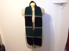 Handmade Striped Black, Green, and Gray Scarf