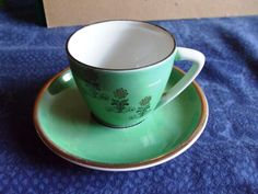 Vintage USSR Russia Latvia Factory RPF Riga  Cup and Saucer Green Gold #75