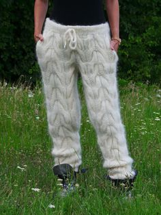 MADE to ORDER Hand Knit Cable Mohair Pants by EXTRAVAGANTZA, $265.00 Crotch Area, White Sweaters, Trousers, Pants, Catsuit, Cable Knit, Hand Knitting, Knitwear, Thighs