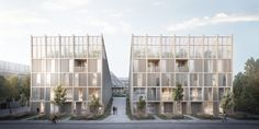 Third Nature Designs New Housing Model to Address UN's Climate Goals Danish architecture firm TREDJE NATUR has designed a new mixed-use housing model in Denmark. Multi Storey Building, Up To The Sky, High Rise Building, Timber House, Master Plan, Outdoor Areas, Cladding, Solar Panels, Sustainability