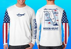 Florida Fish Map Performance Shirt with the United States flag on one sleeve. Top Seller! Made in the USA