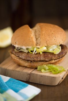"""Good Night & Good Leek Burger - An homage to """"Bob's Burgers."""" Grilled turkey burgers topped with sauteed leeks, and a lemon, caper and Parmesan cheese mayonnaise. 