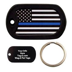 Custom Engraved Pet Tag  Thin Blue Line Flag  Dog Tag  TagZ WagZ *** Read more  at the image link.