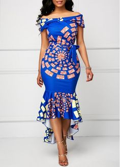 Belted Off the Shoulder Printed Mermaid Dress | Rosewe.com - USD $40.26