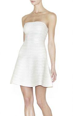 Herve Leger A-LINE Mellie Strapless Bandage White Dress