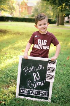 Pregnancy Announcement--Partner in Crime coming March 2018 Baby Number 2 Announcement, Second Pregnancy Announcements, Baby Announcement Photos, Big Brother Announcement Shirt, Baby Surprise Announcement, March Baby, Surprise Baby, Surprise Pregnancy, New Sibling
