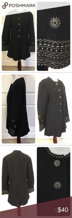Geiger wool coat Geiger Coat: a boiled wool jacket that is truly heirloom quality. Austria's legendary coat maker uses only the finest heavy-weight boiled wool to create their signature coat. No detail is overlooked, from the beautiful embroidery to classic buttons.  Size Conversions: 38(American Size 8). Faux pockets. No flaws noted. Geiger Jackets & Coats