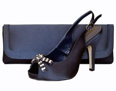 Paco Mena Navy Blue Satin Peep Toe Ladies Shoes. #navyeveningshoes