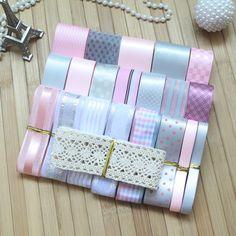 DIY ribbon set---- pink&silver(gray) color mix ribbon set(total 22 yard)