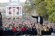 Guess who came to town on MY birthday?  President Barack Obama greets the crowd as he arrives at Bascom Hill on the campus of UW-Madison during a campaign stop in Madison, Wis., Thursday, Oct. 4, 2012. M.P. King-State Journal