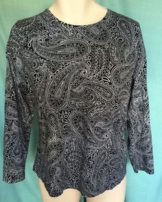 Knit Top Size 2x Black and White Paisley Cotton  #CroftBarrow #KnitTop #Casual