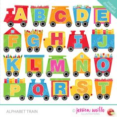 Alphabet Train clipart set comes with 26 graphics including A through Z Alphabet letters on Train Cars. Graphics are created in vector image software and are saved at High Quality 300 dpi Resolution. Image Size: -Graphics will be 7 inches at their tallest Train Clipart, Cute Clipart, Cute Alphabet, Alphabet And Numbers, Alphabet Letters, Alphabet Templates, Alphabet Writing, Free Printable Clip Art, Scrapbook