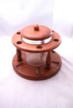 Vintage Walnut Tobacco Pipe Rack  Humidor Jar Caddy Holder Stand Holds Six 6 $43.98