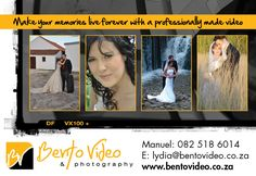 We cater for all your occasion needs, from photography to videography. We aim to capture the emotions of your special moments, and convert them to video and photo prints for you and your loved ones to enjoy for many years to come. www.bentovideo.co.za