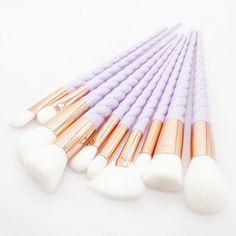 White 10 Pieces Pro Makeup Brush set