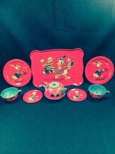 OHIO ART DISNEY DONALD DUCK 9 PIECE CHILDS TIN TEA SET COPYRIGHT 1939 #Disney