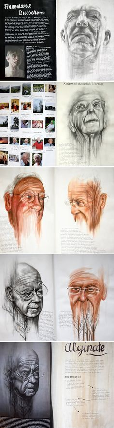 100% A Level Art portraiture development inspired by Annemarie Busschers - Emily Fielding, Kennet School
