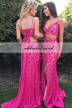 Two Pieces Prom Dress, Lace Prom Dress, Spaghetti Straps Prom Dress, Side Split Prom Dress, Sexy Prom Dress, KX37 #okbridal