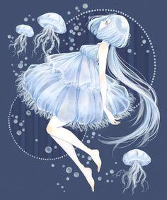 jelly fish girl  #illustration #anime #art