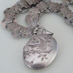Antique-Victorian-Silver-Bookchain-Book-Chain-Aesthetic-Bird-Locket-Necklace